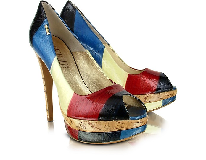Rainbow Leather Peep-toe Pump Shoes - Loriblu