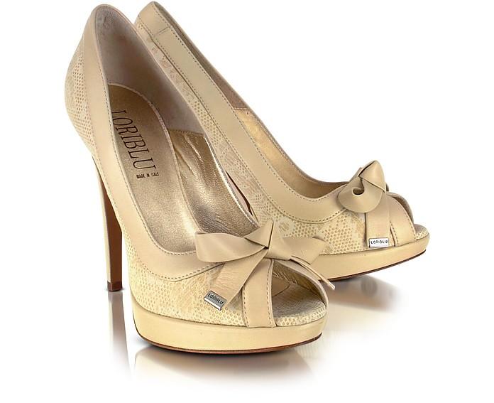 Sand Top Bow Leather Peep-Toe Pump Shoes - Loriblu