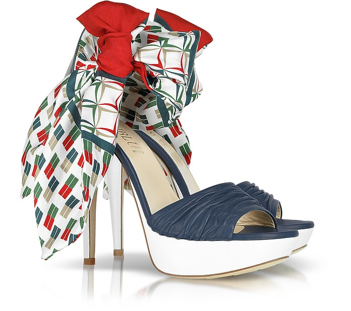 Multicolor Foulard and Nappa Leather Sandal - Loriblu