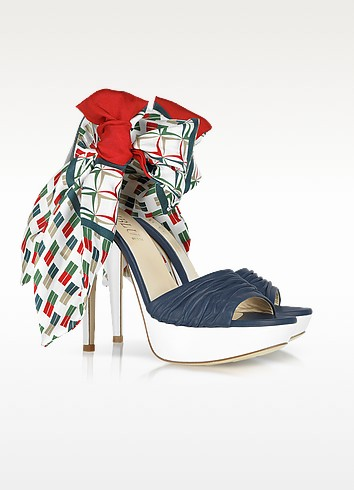 Multicolor Foulard and Nappa Leather Sandal - Loriblu