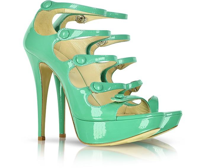 Green Patent Leather Sandal - Loriblu
