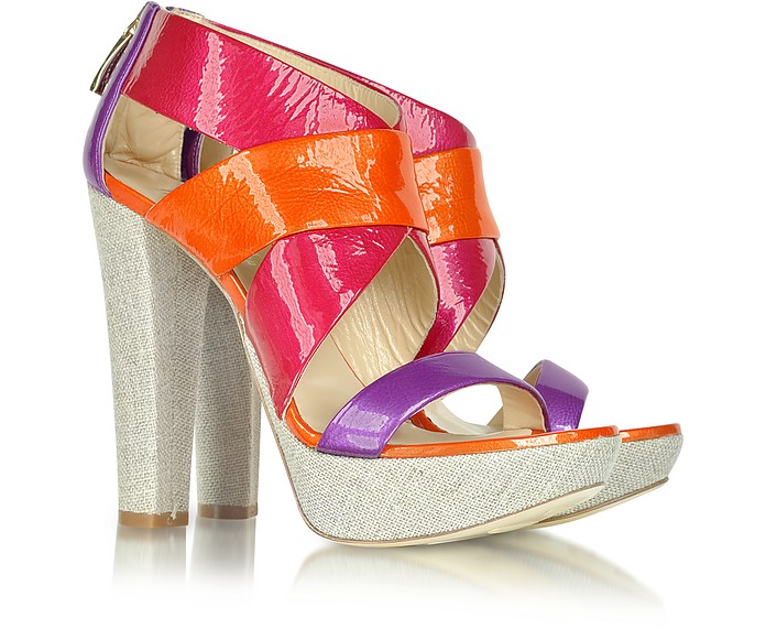 Canvas and Multicolor Patent Leather Sandal - Loriblu