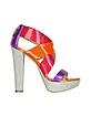 Canvas and Multicolor Patent Leather Sandal - Loriblu