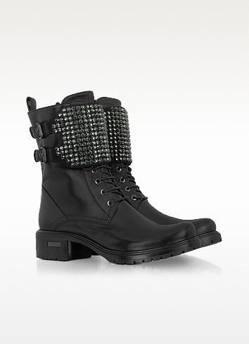 Nappa Leather Crystal Studded Boot - Loriblu
