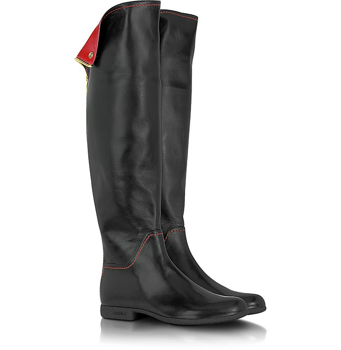 Red and Black Knee High Nappa Leather Boots - Loriblu