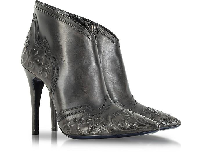 Dark Gray Leather Bootie - Loriblu