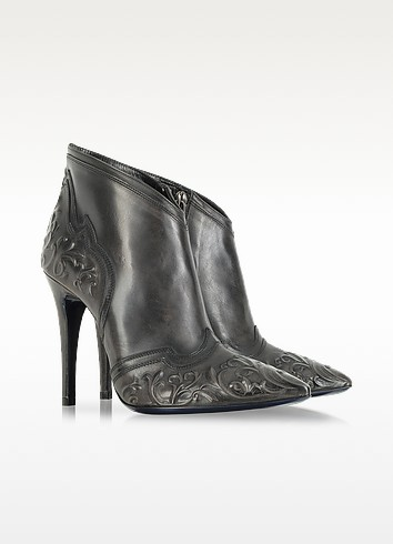 Dark Gray Leather Bootie - Loriblu