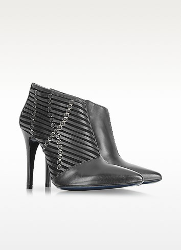 Black Leather High Heel Bootie - Loriblu