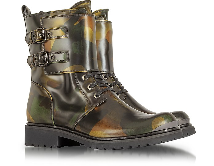 Camouflage Leather Combat Boot - Loriblu
