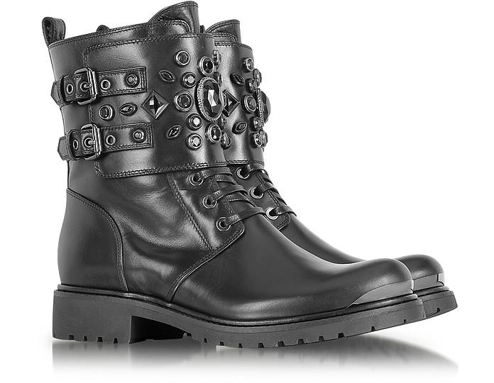 Black Leather Combat Boot w/Crystal - Loriblu