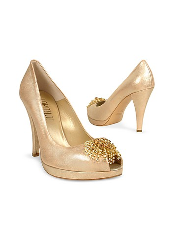 Loriblu Swarovsky Crystal Metallic Leather Platform Evening Shoes :  pumps accessories open toe swarovski