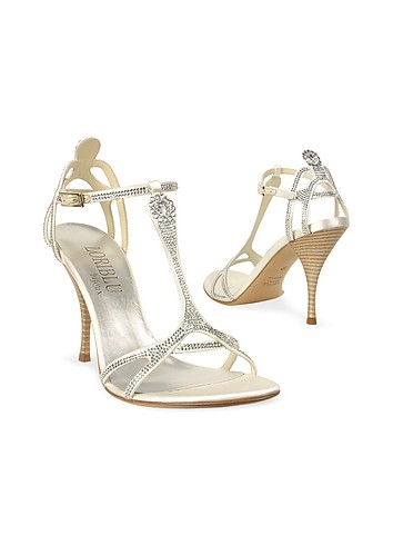 Loriblu Swarovsky Crystal Ivory T-strap Sandal Evening Shoes from forzieri.com