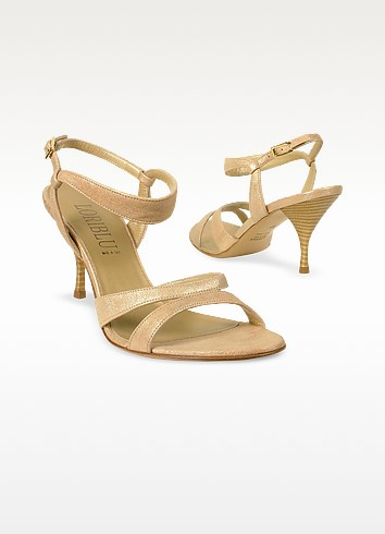 Metallic Leather Ankle-strap Sandal Shoes - Loriblu