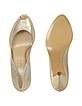 Gold Metallic Leather Platform Evening Shoes  - Loriblu