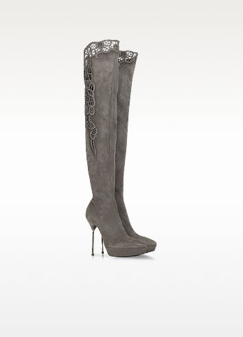 Gray Suede Platform Boot - Loriblu