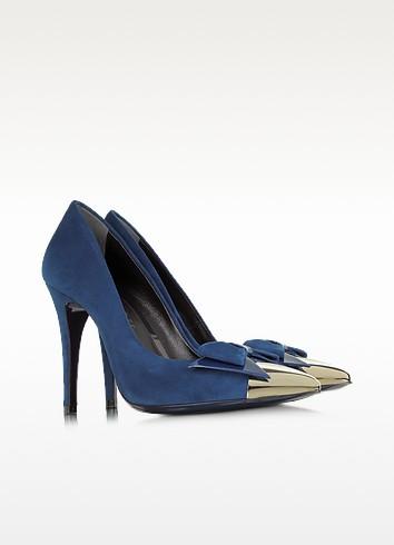 Blue Suede with Metallic Toe Pump - Loriblu