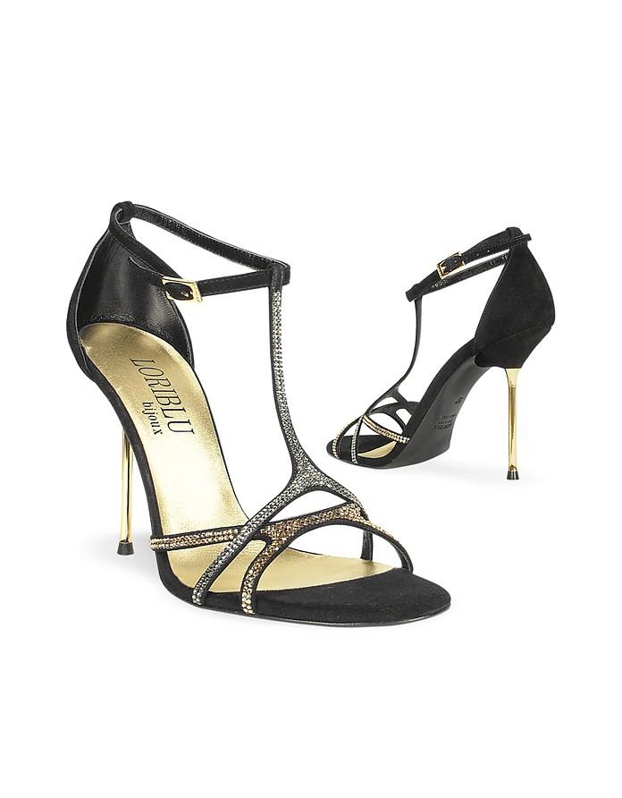 Crystal T-strap Black Suede Evening Sandal - Loriblu