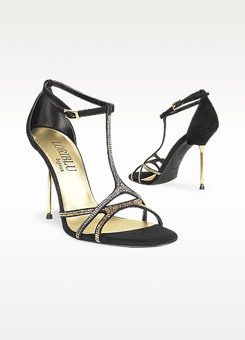 Crystal T-strap Black Suede Evening Sandal - Loriblu