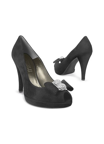 Loriblu Swarovsky Crystal Bow Black Suede Platform Evening Shoes :  women evening designer shoes suede