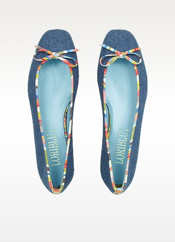 Multicolor Leather Trim Denim Ballerina Flat Shoes - Loriblu