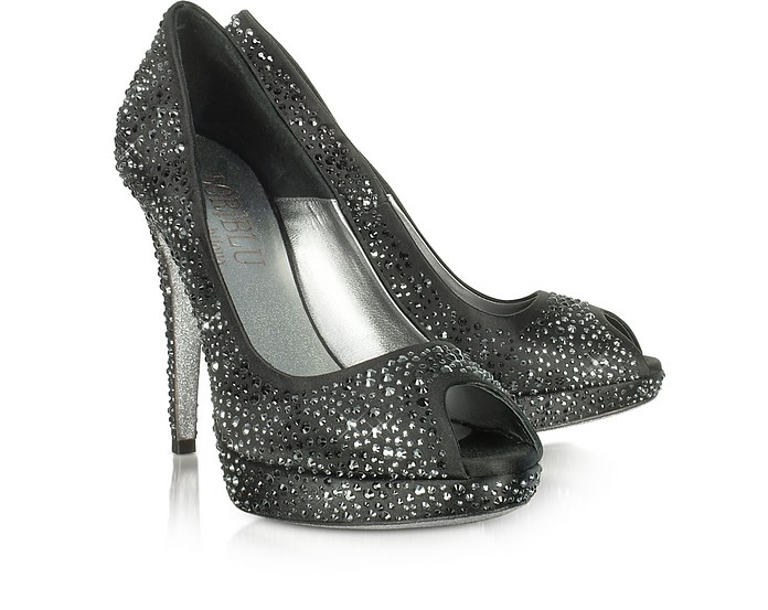 Black Peep-Toe Satin Pump - Loriblu