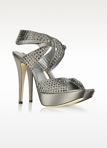 Jeweled Dark Gray Satin Sandal - Loriblu