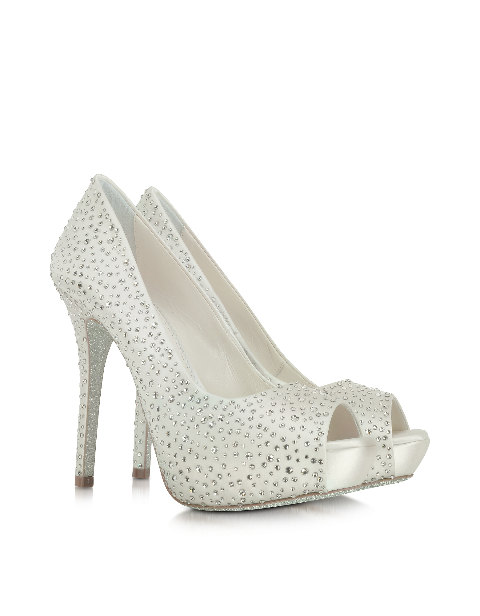 Loriblu Shoes, Ivory Satin Platform Open Toe Pump