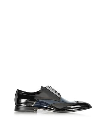 Black and Blue Patent Leather Derby Shoe