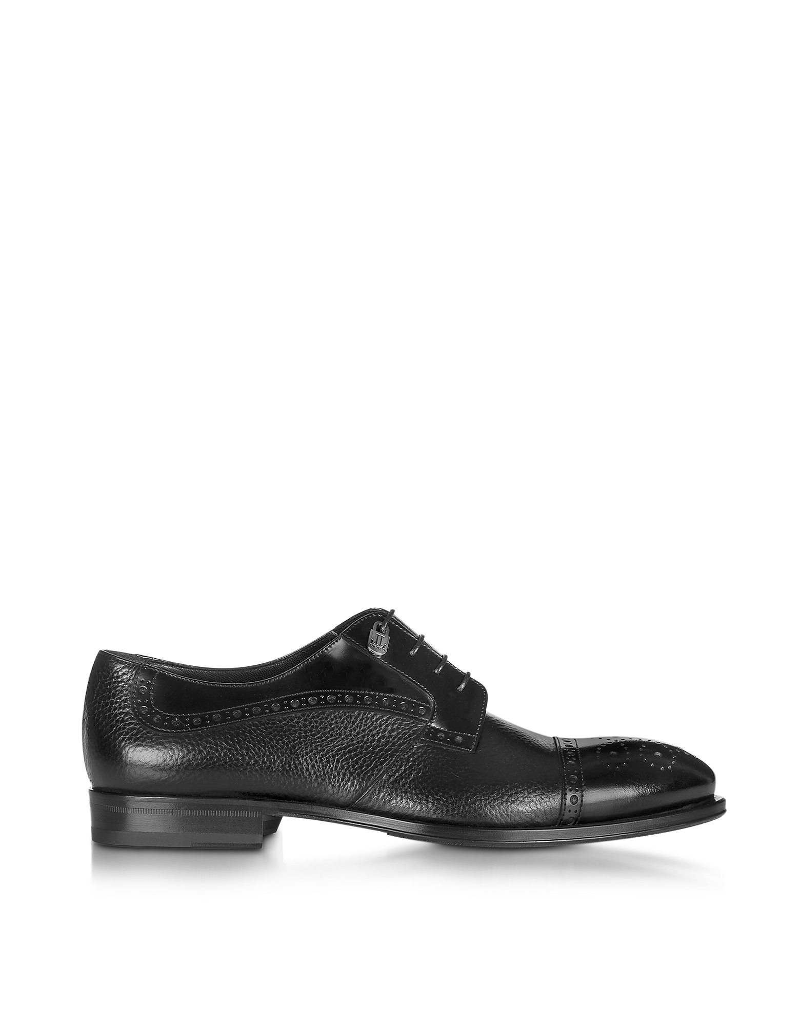 Loriblu Shoes, Black Grained Leather Brogue Shoe
