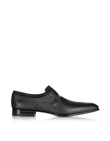 Black Satin Loafer w/Suede Detail