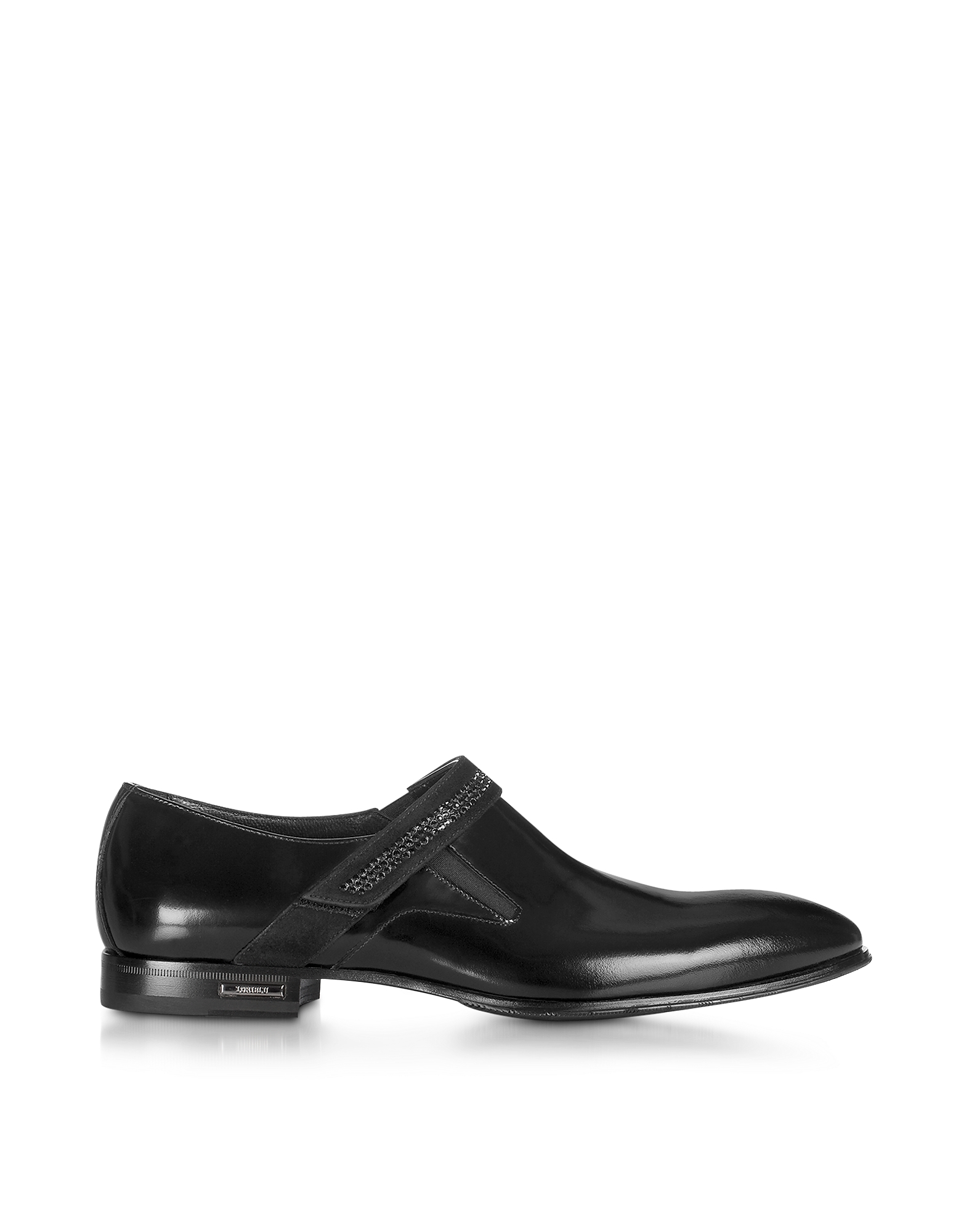 Loriblu Shoes, Black Leather Loafer w/Suede Buckle Strap