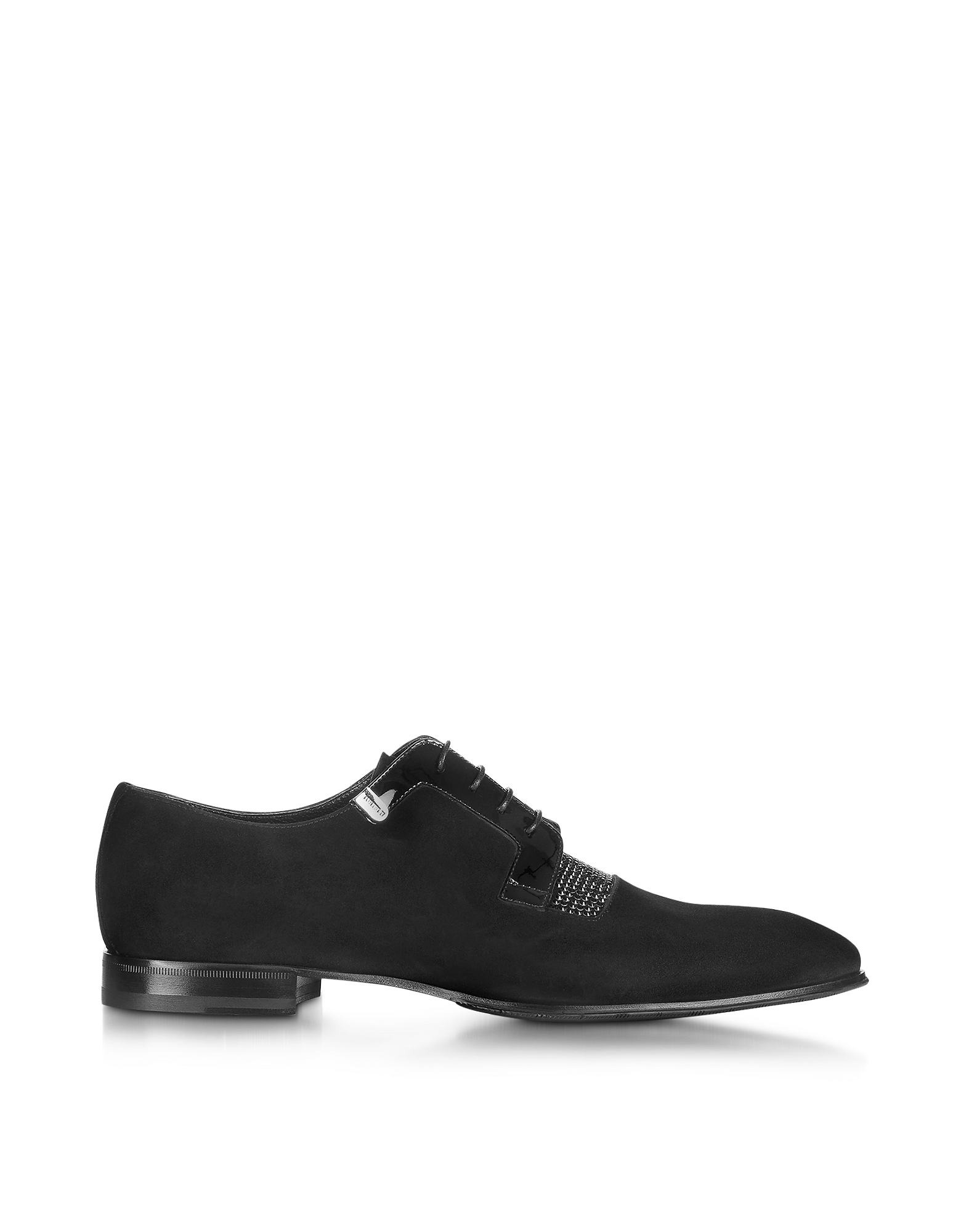 Loriblu Shoes, Black Suede Lace up Shoe with Patent Details and Crystals