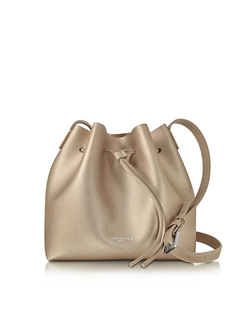 Lancaster Paris - Pur & Element Champagne Pink Saffiano Leather Bucket Bag