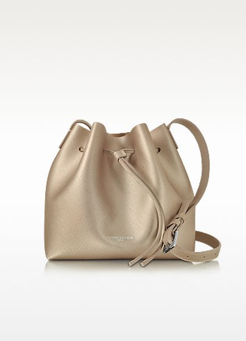 Pur & Element Champagne Pink Saffiano Leather Bucket Bag - Lancaster Paris