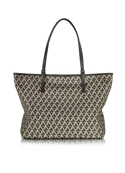 Ikon Printed Coated Canvas and Leather Tote - Lancaster Paris