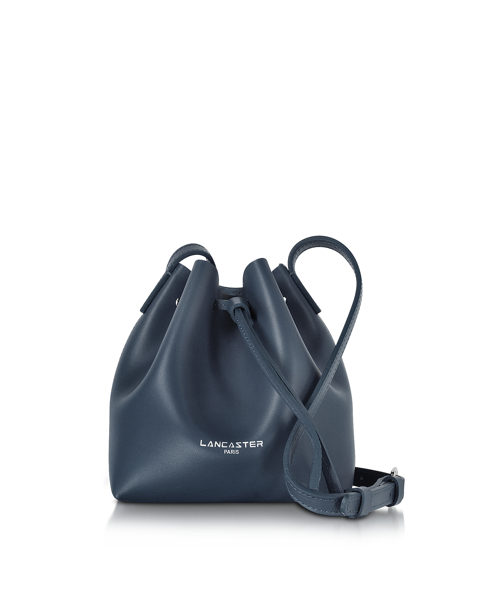 Lancaster Paris Designer Handbags, Pur Smooth Dark Blue Leather Mini Bucket Bag (Luggage & Bags) photo