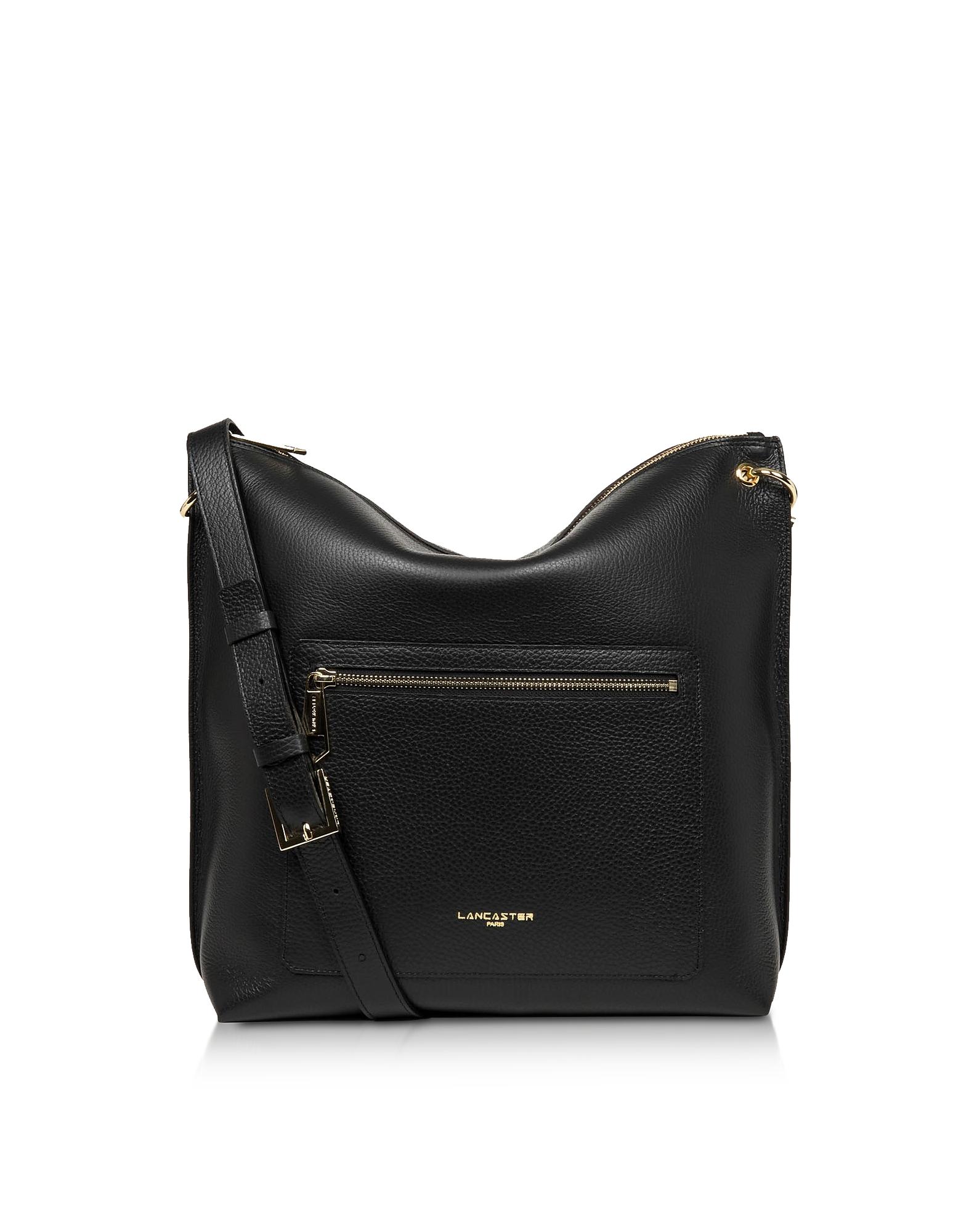 Lancaster Paris Designer Handbags, Foulonne Double Black Grained Cow Leather Bucket Bag