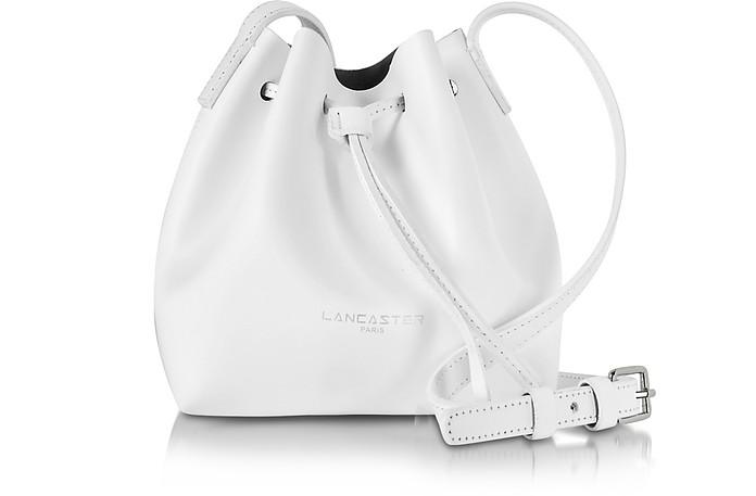 Pur Smooth Optic White Leather Mini Bucket Bag - Lancaster Paris