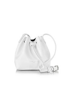 Pur Smooth Optic White Leather Mini Bucket Bag - Lancaster Paris