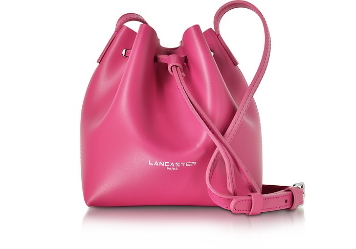 Pur Smooth Fuchsia Leather Mini Bucket Bag - Lancaster Paris
