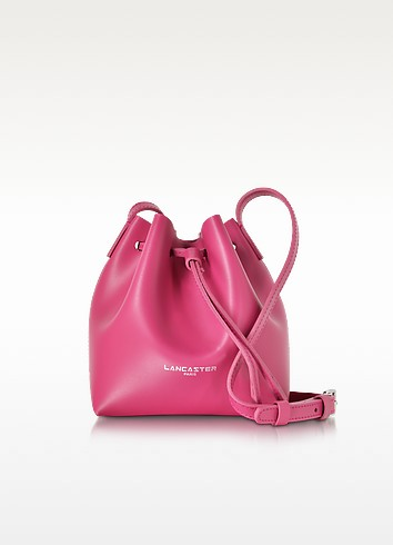 Pur Smooth Fuchsia Leather Mini Bucket Bag - Lancaster Paris