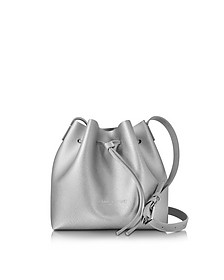 Pur & Element Silver Saffiano Leather Mini Bucket Bag - Lancaster Paris