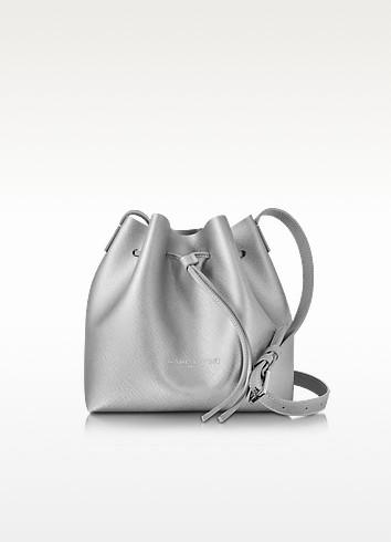 Pur & Element Silver Saffiano Leather Mini Bucket Bag - Lancaster Paris