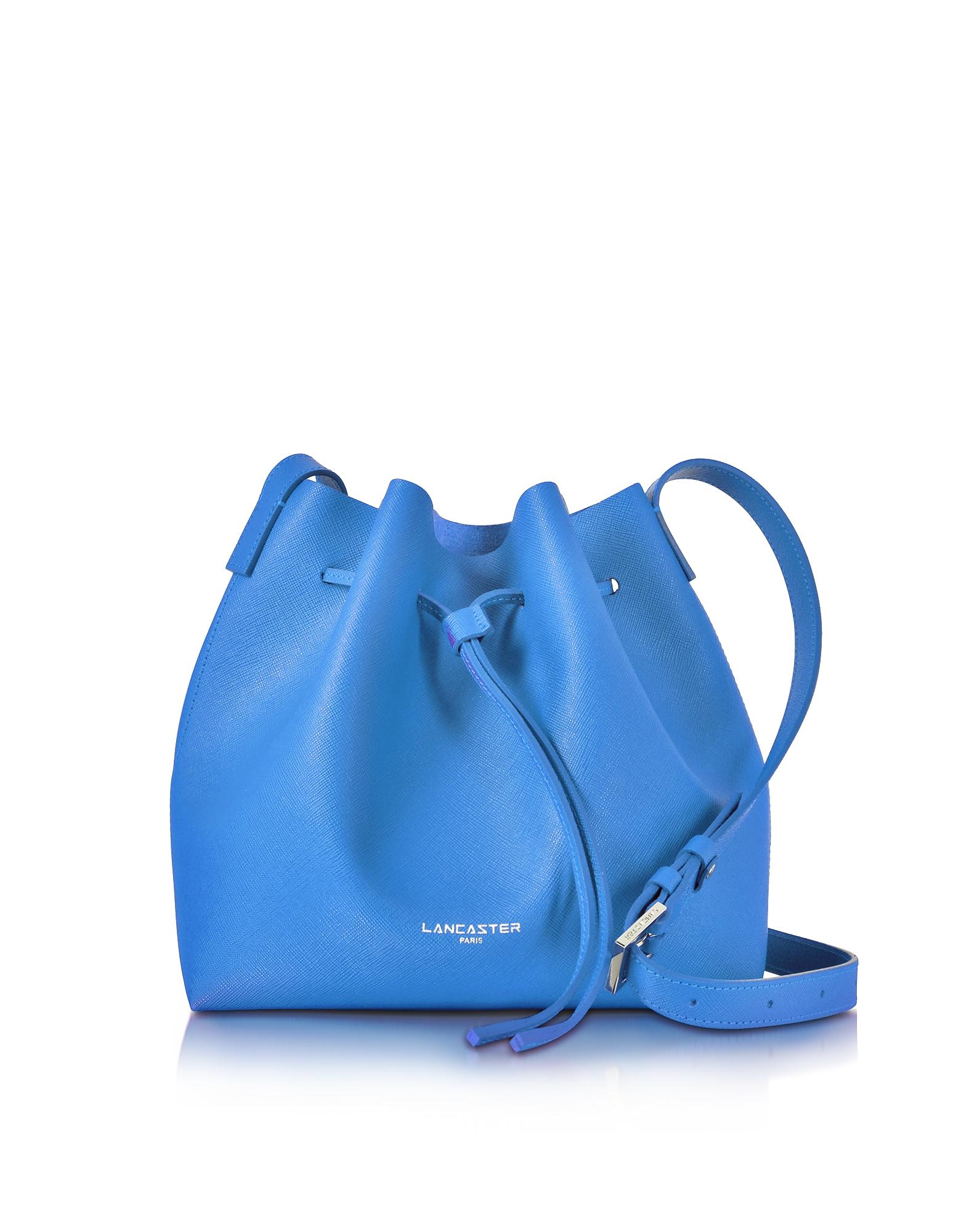 Lancaster Paris Handbags, Pur Smooth Blue Leather Bucket Bag
