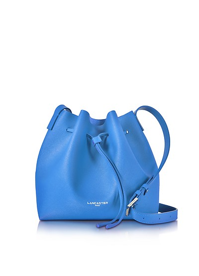 Pur Smooth Blue Leather Bucket Bag - Lancaster Paris