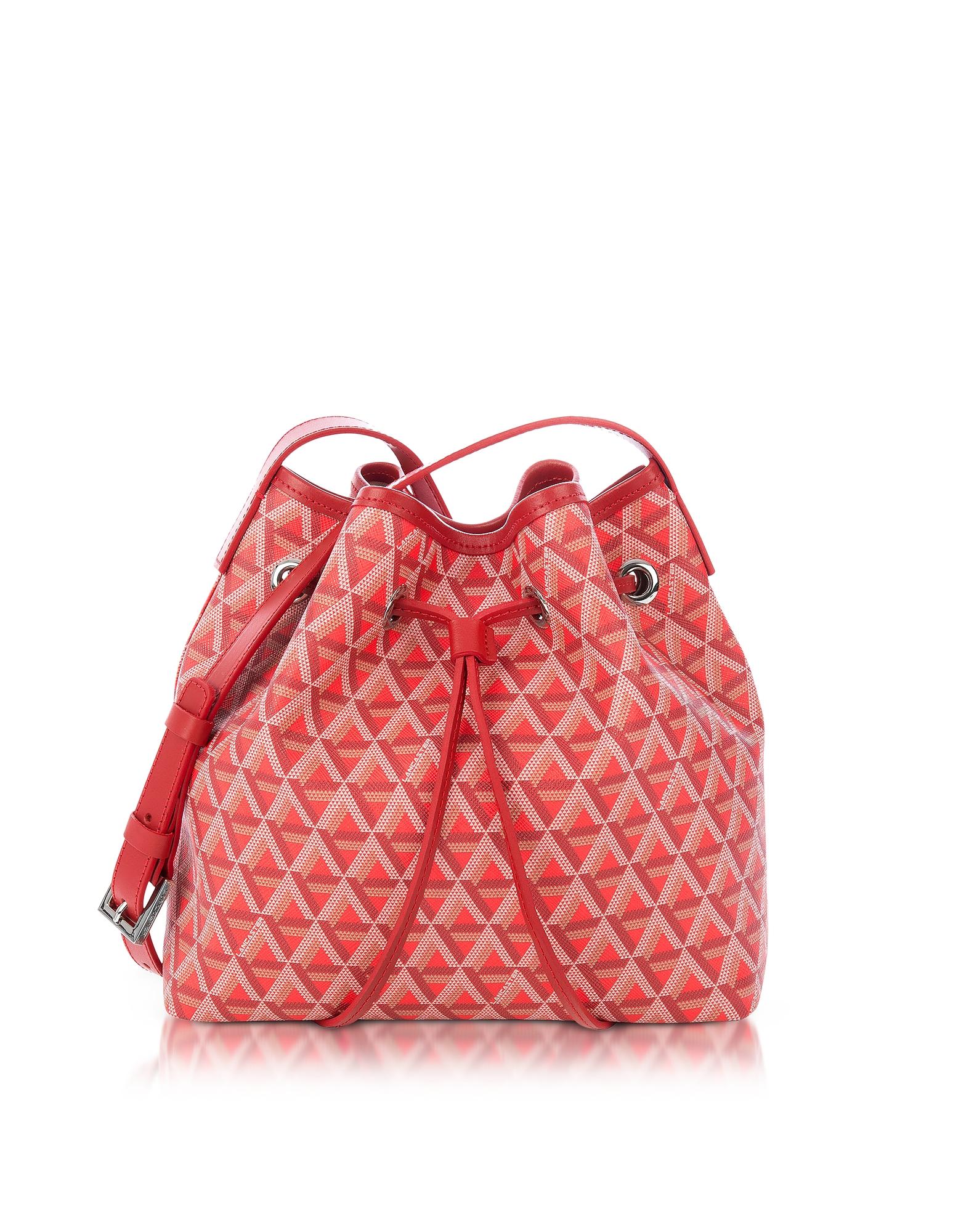 Lancaster Paris Handbags, Ikon Small Coated Canvas Bucket Bag w/Drawstring