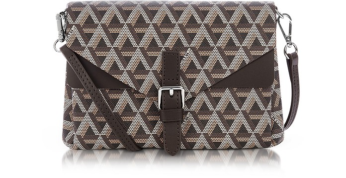 Ikon Coated Canvas and Leather Mini Clutch - Lancaster Paris