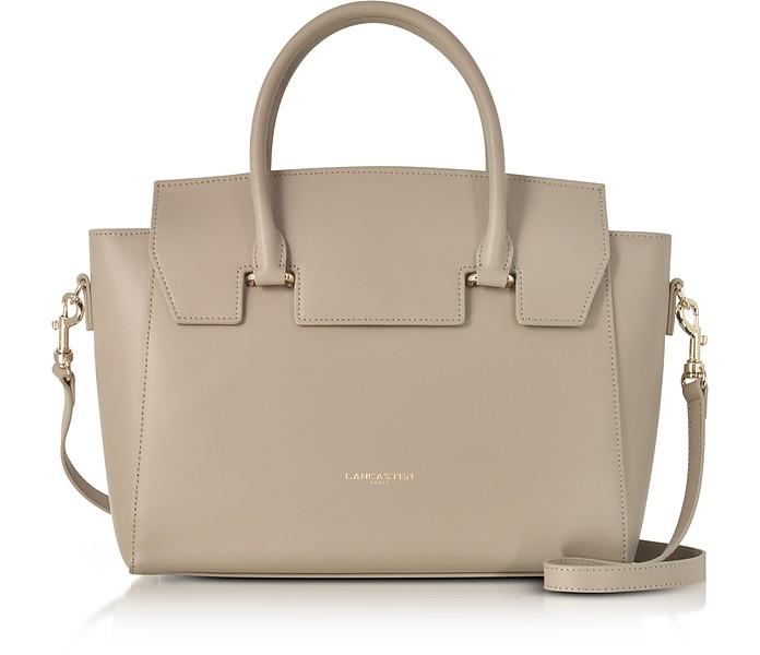 Camelia Leather Tote Bag w/Detachable Shoulder Strap - Lancaster Paris