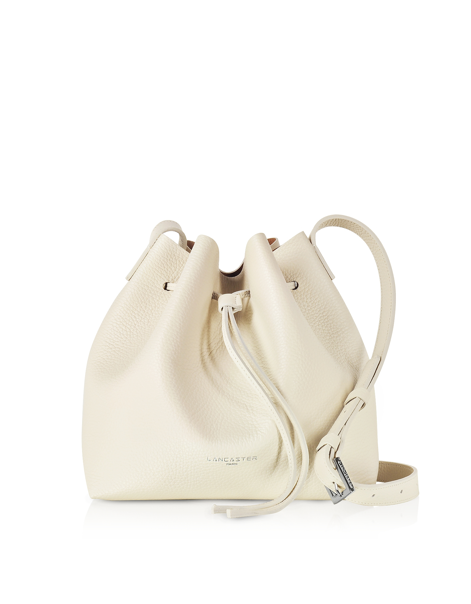 Lancaster Paris Handbags, Beige Grainy Leather Bucket Bag