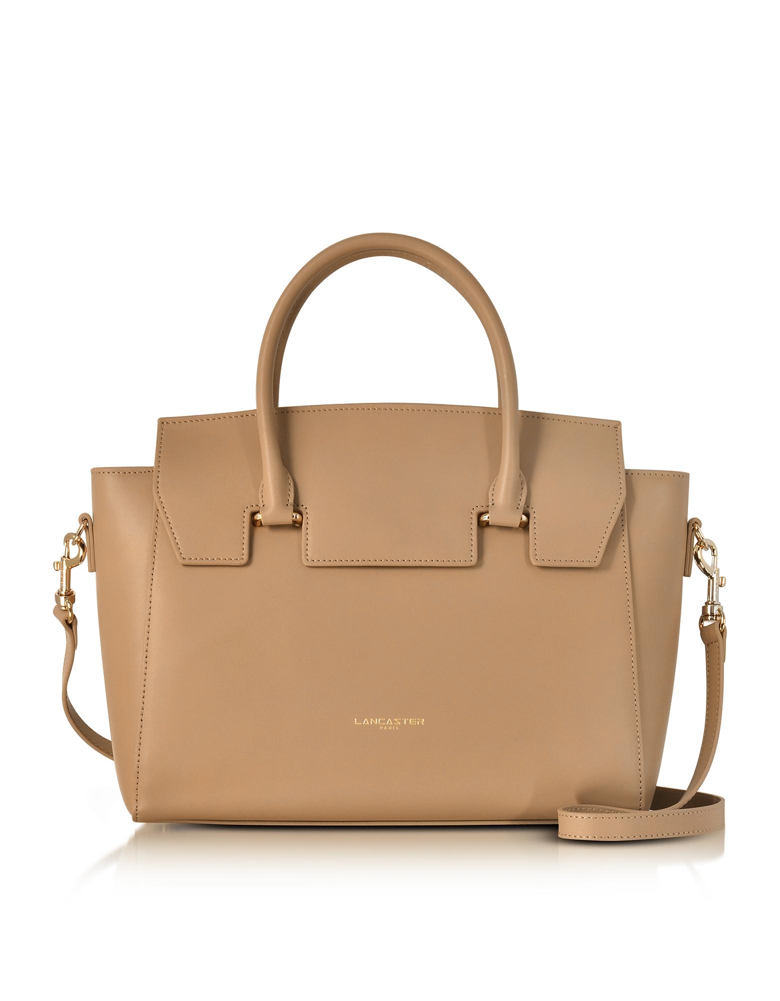Lancaster Paris Handbags, Camelia Smooth Leather Flap Top Satchel Bag